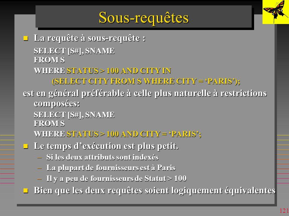 Sous-requêtes La requête à sous-requête : SELECT [S#], SNAME FROM S